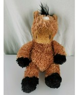 Aurora Stuffed Plush Golden Brown Horse Pony Fluffy Soft Black Mane Whit... - $39.59