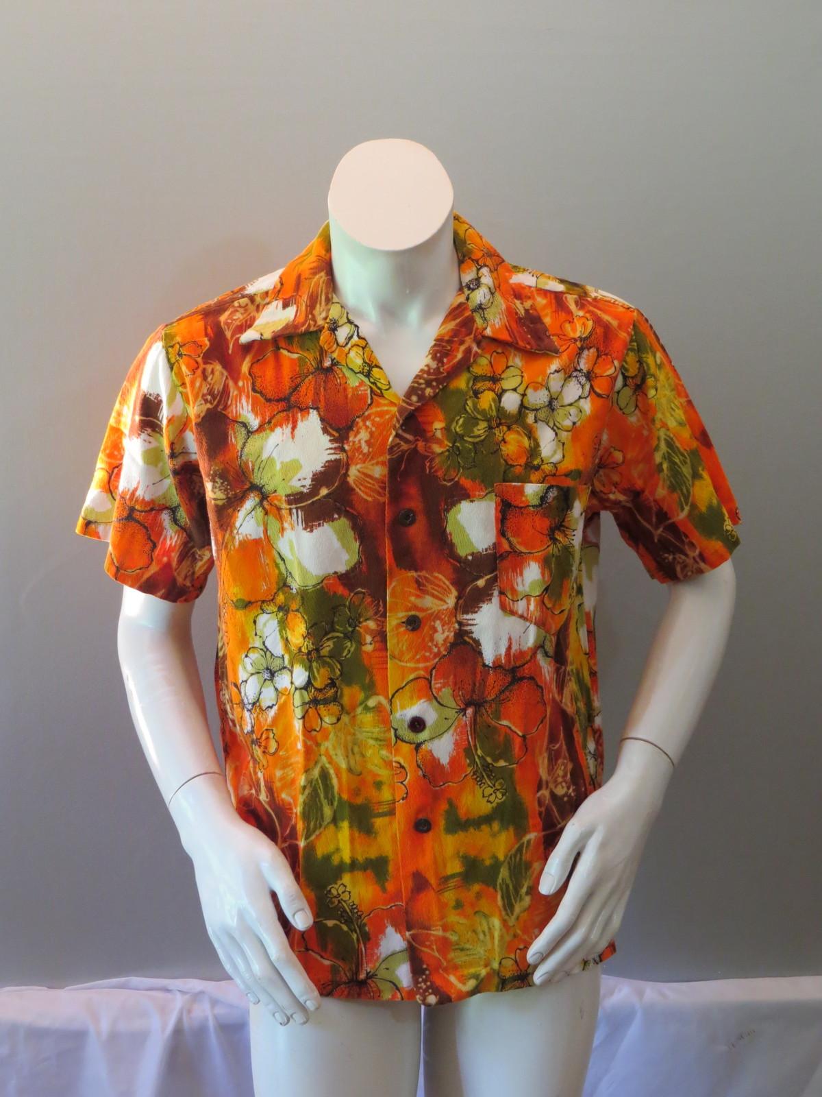 Vintage Hawaiian Aloha Shirt - Psychedelic Floral Pattern by Likeke - Mens Large