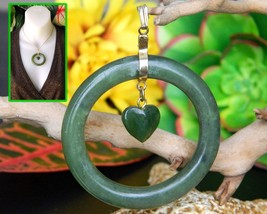Vintage Green Nephrite Jade Pendant Dangling Heart Circle Love Romance - $49.95