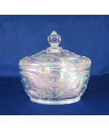 """LE Smith """"Eagle"""" Candy Box, White Carnival Glass, No. 4564 - $24.00"""