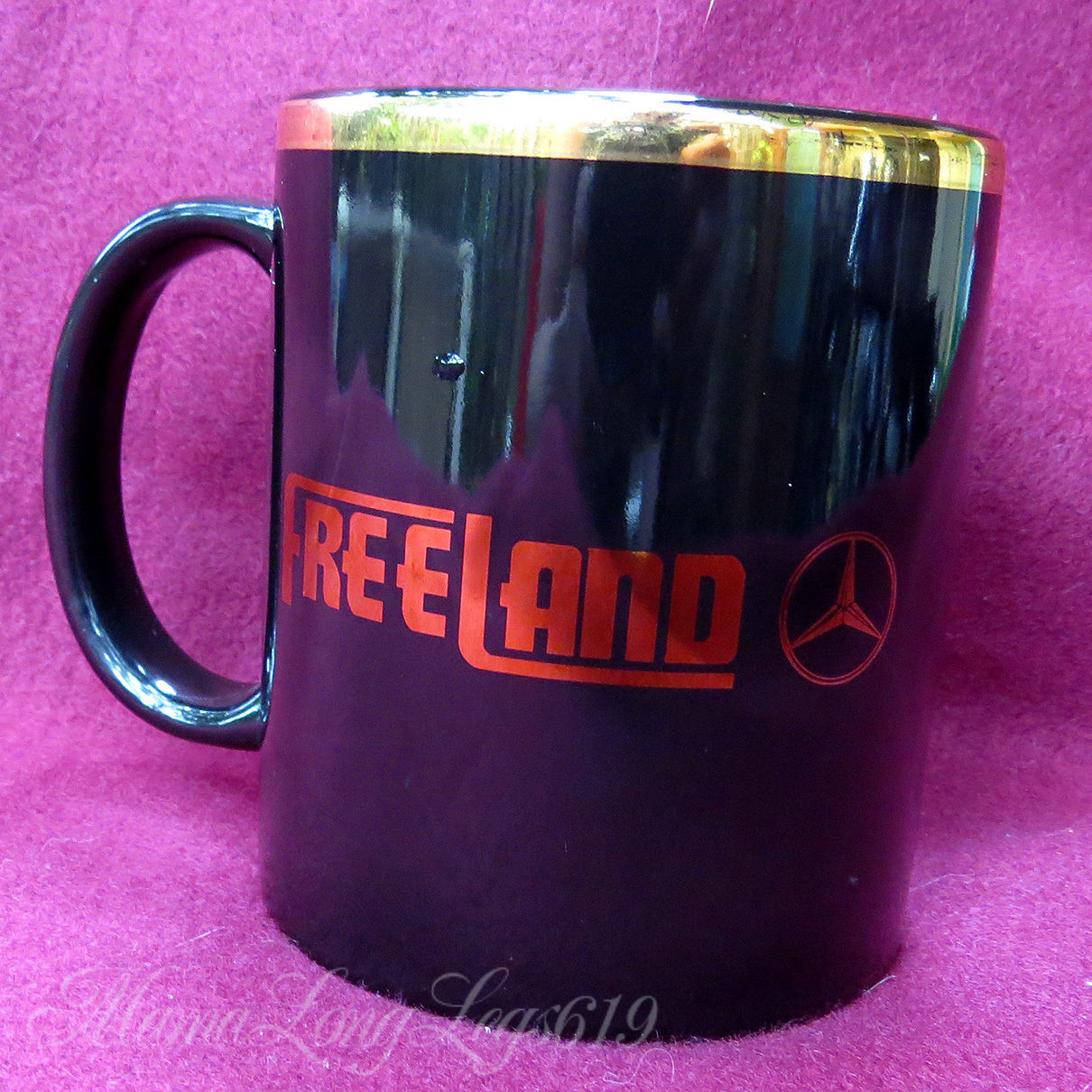Primary image for PROMO Freeland Mercedes Dealership Coffee Mug Cup Gold Trim Cedes Emblem