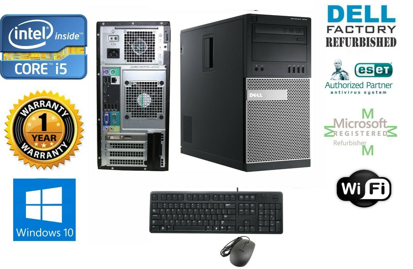 Dell Gaming TOWER PC i5 2500 Quad 3.3GHz 16GB 120GB SSD Win 10 Pro 64 HDMI-VGA - $268.27