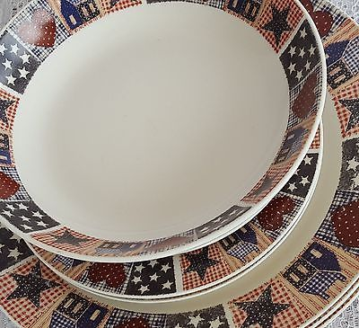 Oneida Majesticware American Quilt Red White Blue Dinnerware Plates Bowls 8 Pcs & Oneida Majesticware American Quilt Red White and 50 similar items