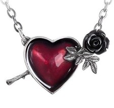 Wounded By Love Pierced Red Broken Heart Black Rose Necklace Alchemy Gothic P848 - $28.95