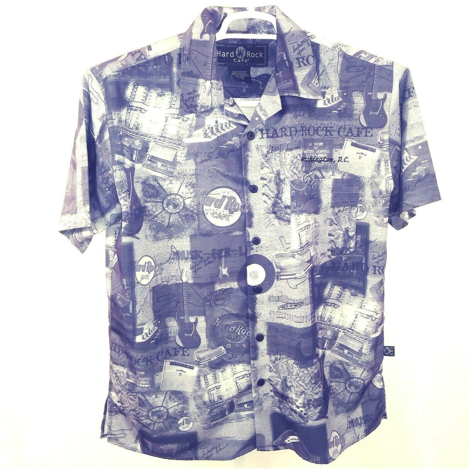 27a7f5dbd9cd Hard Rock Cafe D.C. Button Front Short Sleeve Shirt Rock n Roll Print Gray L  - $19.31