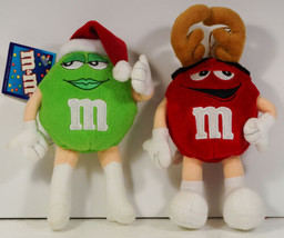 M&M Candy Christmas Green LAdy in Santa Hat & Red Male Reindeer Antlers ... - $7.99