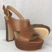 Michael Kors Mariana Sling Brown Leather Platform Sandals Shoes Brown - $64.90