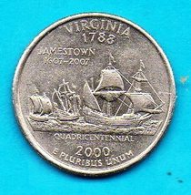 2000 P Virginia State Washington Quarter -  Near Uncirculated - Near Bri... - $1.25