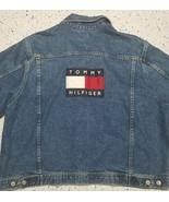 Mens Vintage 90's Tommy Hilfiger Denim Jean Jacket ~ Flag Logo ~ Stonewa... - $366.29