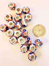 925 Sterling Silver Core Murano Glass European Bead - NICE ! 10 pc - $8.00