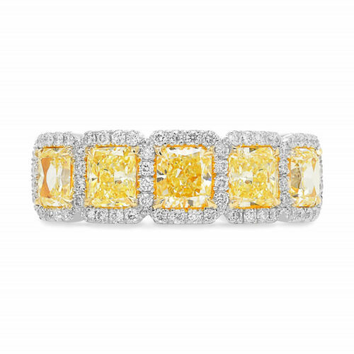 Primary image for 2.32Cts Yellow Diamond Band  Ring Set in 18K White Yellow Gold