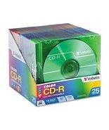 Verbatim 94611 CD-R Discs, 700MB/80min, 52x, Slim Jewel Cases, Assorted ... - $15.00
