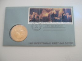 1976 Bicentennial First Day Cove rCommemorative Stamp and Medal with Tho... - $9.90