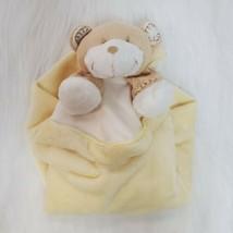 Blankets & Beyond Bear Baby Lovey & Security Blanket Yellow Tan Velour  ... - $14.99