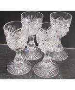 4 Signed Libbey liquor American Brilliant Period hand Cut Glass blown - $172.63