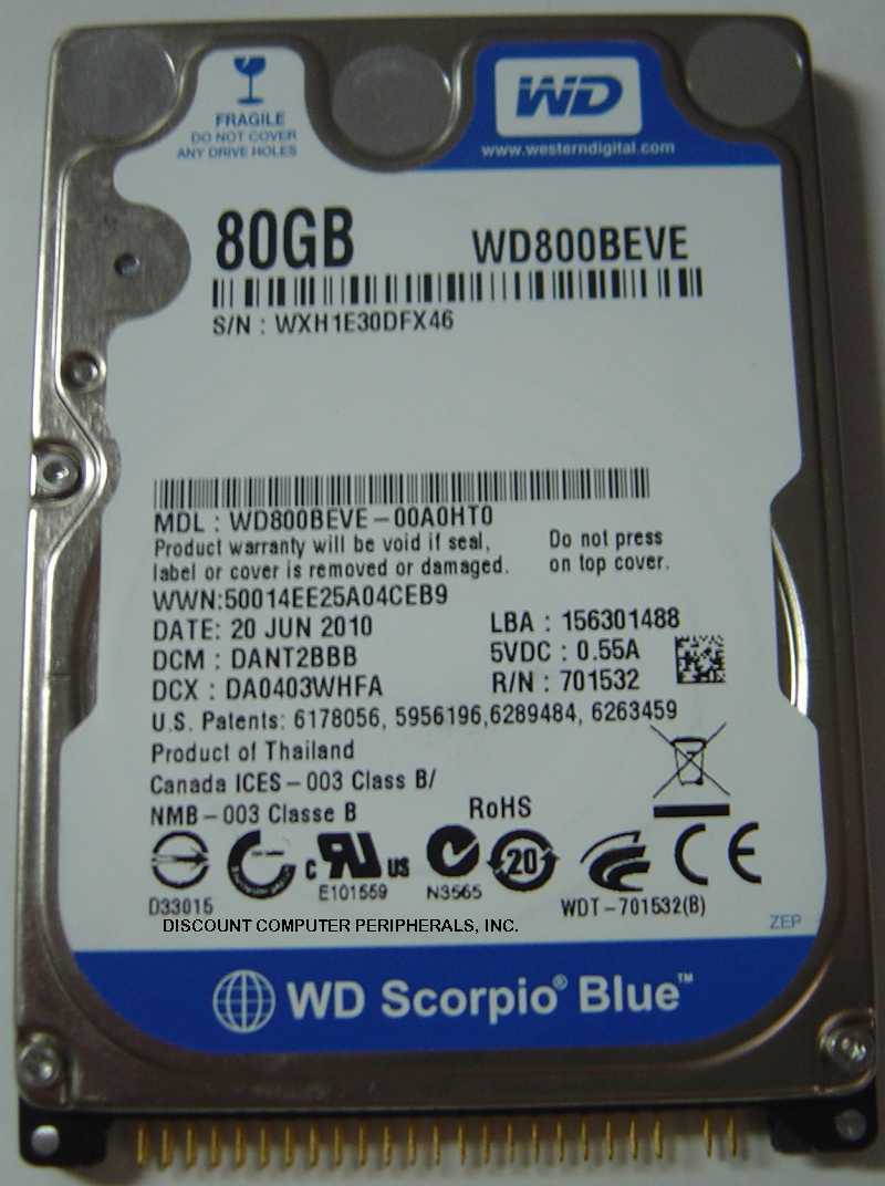 NEW 80GB 2.5 inch IDE 44PIN 9.5MM Hard Drive WD WD800BEVE Free USA Shipping