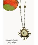 Heritage Drop Necklace: ivory/brass vintage button, antique brass filigr... - $15.00
