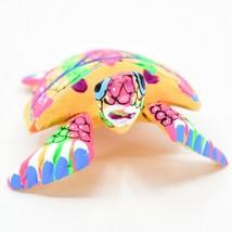 Handmade Oaxacan Copal Wood Carving Painted Sea Turtle Marine Figurine image 2