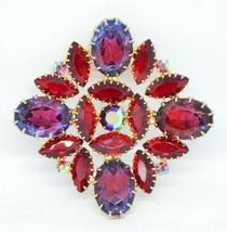 JULIANA D&E Large Gold Tone Red Purple Glass Flower Pin Brooch Vintage - $123.75