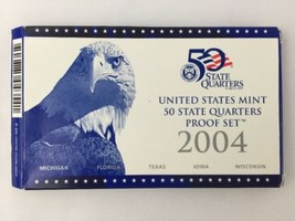 2004 U.S. Mint Proof Clad 5 Quarter Set Michigan Florida Texas Iowa Wisc... - $24.49
