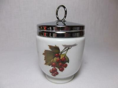 Vtg Royal Worcester Jelly Jam Jar egg coddler England peach fruit Chrome Lid