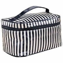 2 Pcs Modern Black White Stripes Clamshell Cosmetic Storage Bag