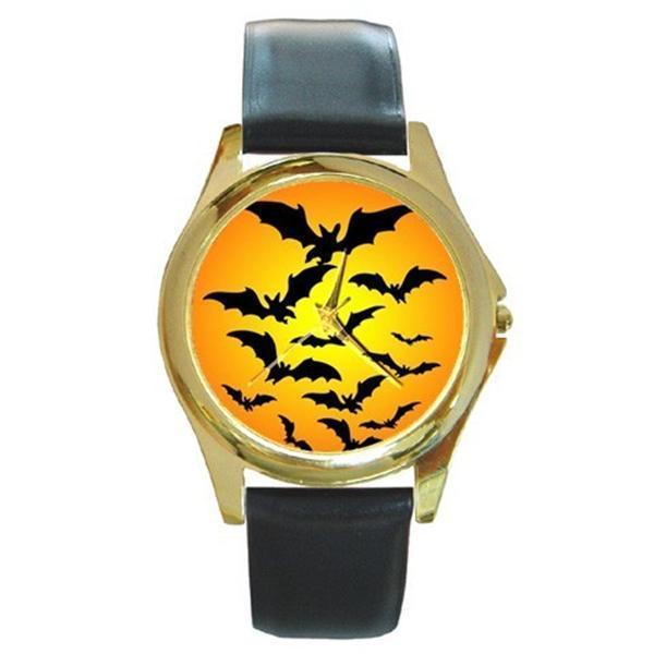 HALLOWEEN BATS HARVEST MOON GOLD-TONE WATCH 4 OTHER STYLES SILVER SPORTS CHARM - $25.64
