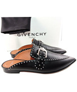 $850 Givenchy Black Leather Elegant Studded Loafers Mules Flats Buckle S... - $439.00