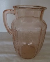 "Vintage Pink Depression Glass Princess Pattern 8"" 60 oz Pitcher  - $65.00"