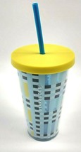 Starbucks '18 Tumbler 16oz Cold Cup Blue Yellow Plaid Blue Straw Yellow Lid New - $19.34