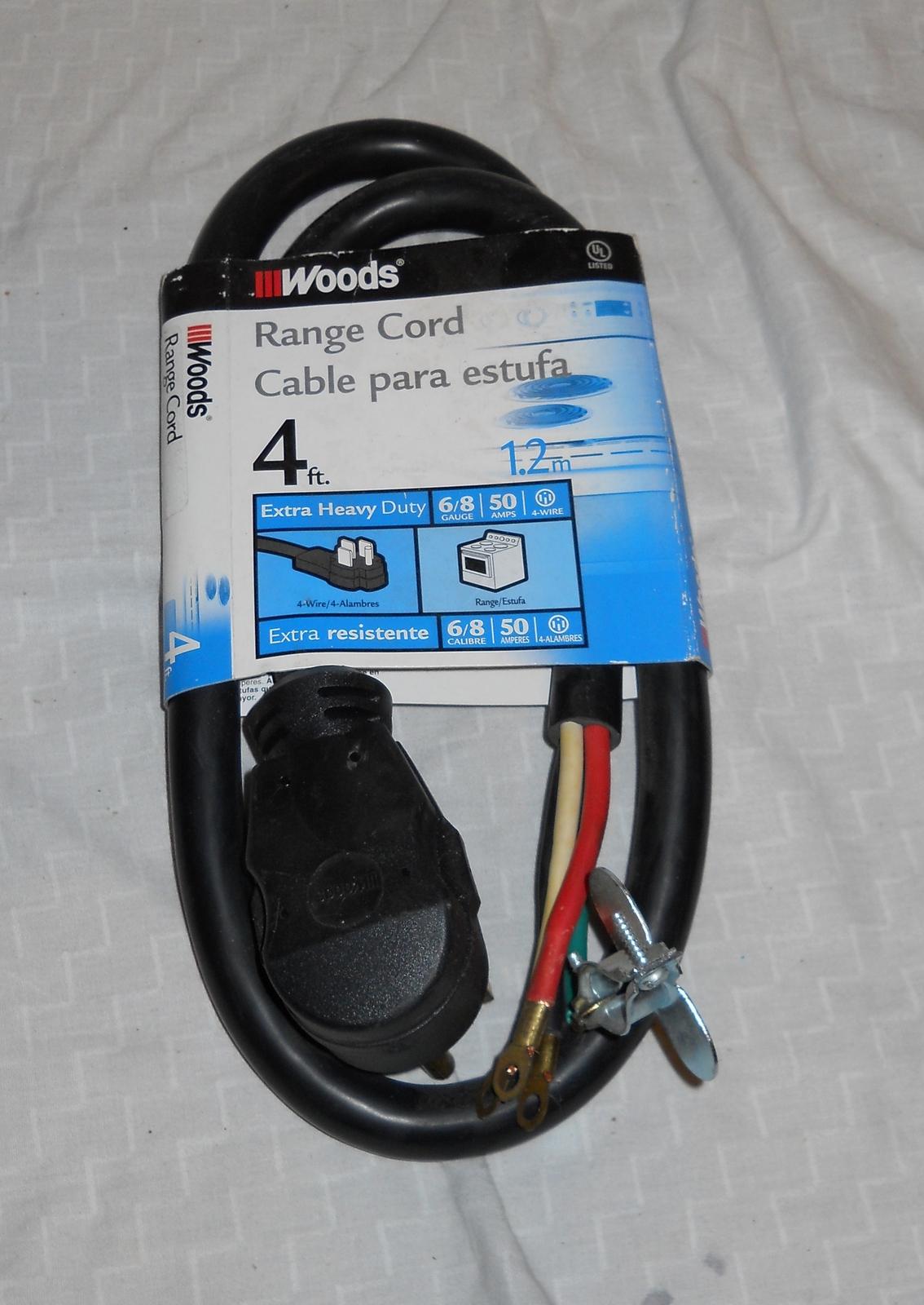 Woods 0761 6/2 - 8/2 SRDT 50-Amp Range Appliance HEAVY Power Supply Cord, 4-Feet