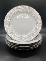 6 Mikasa Parchment SALAD Plates Silver Scrolls L3438 Thailand - $49.45