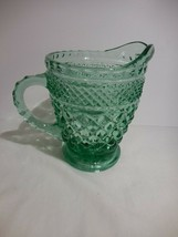 Wexford Green Creamer Anchor Hocking Glass Footed Diamond Criss Cross - $11.87