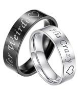 Tungsten Carbide Her Weirdo His Crazy Ring - Silver Black Color - Price ... - $39.99