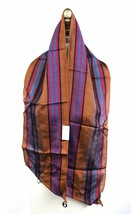 VTG Echo Scarf NWT 1970s Oblong Striped Great Colors Rust Fuchsia 54x8 R... - $17.56