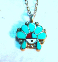 pendant and chain, sterling silver, turquoise i... - $44.92