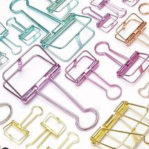 Novelty Solid Color Hollow Out Metal Clothespin Binder Clips Notes Lette... - $11.35+