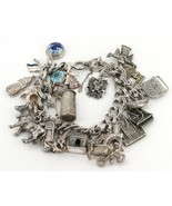 Vintage Sterling Bracelet Loaded with 25 European Travel Charms 68.7 Grams - $69.99