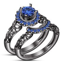 14k Black Gold Plated 925 Silver Round Cut Blue Sapphire Wedding Bridal ... - $91.67