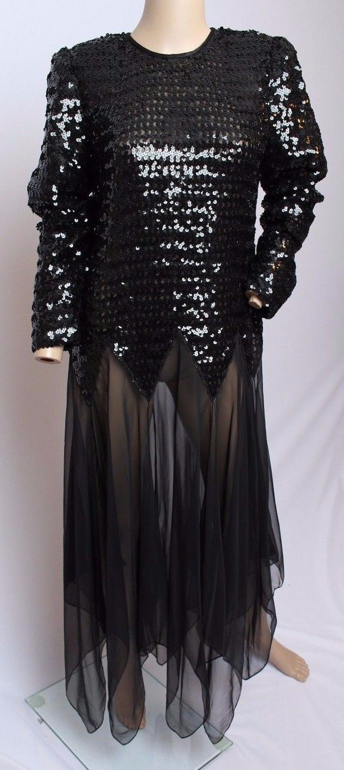 Vtg 70's 80's Denise Fashions Black Sheer Sequin Party Cocktail Disco Dress 10