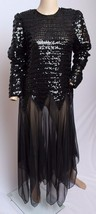 Vtg 70's 80's Denise Fashions Black Sheer Sequin Party Cocktail Disco Dr... - $132.99