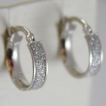 White Gold Earrings 750 18k a circle, diameter 1.4 CM, Glitter Effect image 1