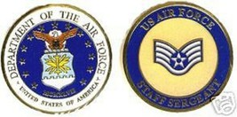 USAF AIR FORCE STAFF SERGEANT BLUE CHALLENGE COIN - $18.04