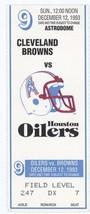 CLEVELAND BROWNS @ HOUSTON OILERS 12/12/93 Ticket Stub! Eric Metcalf War... - $5.04
