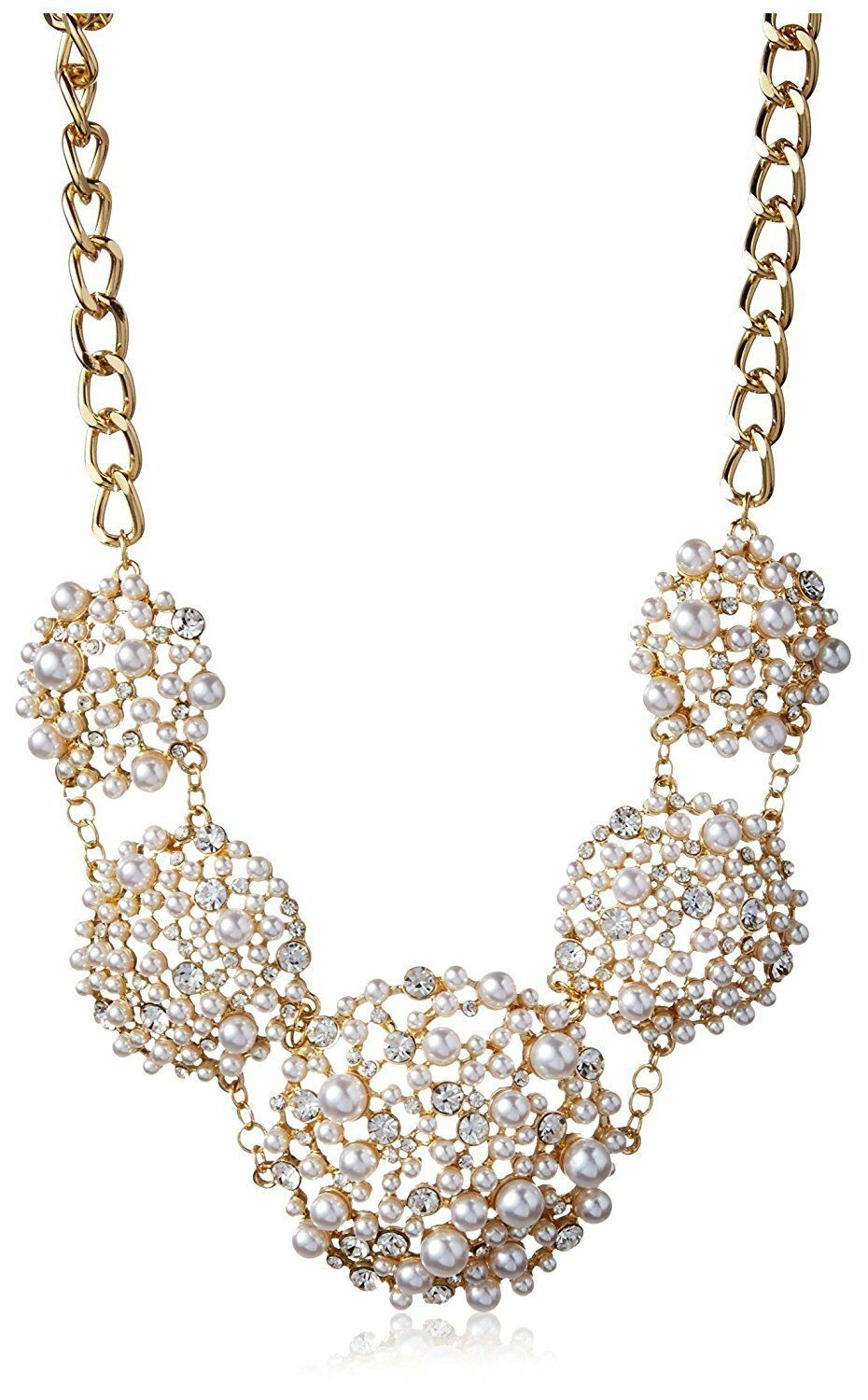 Cohesive Jewels Floral Simulated Pearl and Swarovski Crystals Statement Necklace