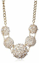 Cohesive Jewels Floral Simulated Pearl and Swarovski Crystals Statement Necklace image 1