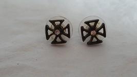 """3/8""""VINTAGE BRONZE BRASS SYMBOL CROSS STUD POST EARRINGS,FAUX DIAMOND RH... - $4.94"""