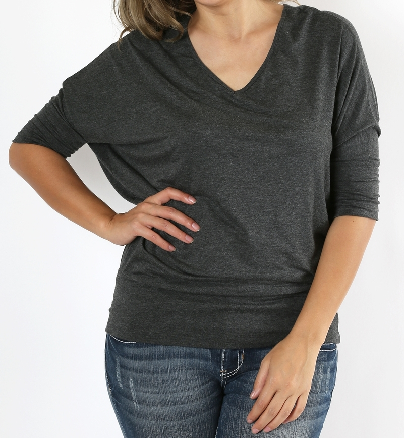 Plus Size Dolman Sleeve Tops, Plus Size Tops, Waist Band, V Neck, Charcoal