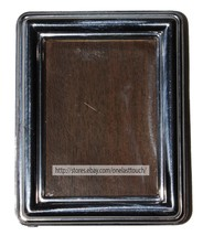 """1.25"""" x 2.75""""* Mini PICTURE FRAME Brown Wood+Silver Front EASEL STAND Vi... - $5.99"""
