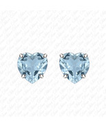 Lady's Fashion In 14k White Gold Heart Aquamarine Over 925 Silver Stud E... - $25.00